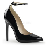 Svart Lackerade 13 cm SEXY-23 Klassiska Pumps Klackskor Dam