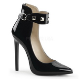 Svart Lackerade 13 cm SEXY-31 Klassiska Pumps Klackskor Dam