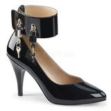 Svart Lackläder 10 cm DREAM-432 stora storlekar pumps skor