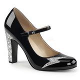 Svart Lackläder 10 cm QUEEN-02 stora storlekar pumps skor