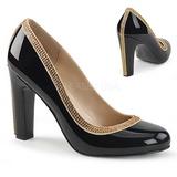 Svart Lackläder 10 cm QUEEN-04 stora storlekar pumps skor
