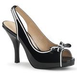 Svart Lackläder 11,5 cm PINUP-10 stora storlekar sandaler dam