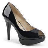 Svart Lackläder 13,5 cm CHLOE-01 stora storlekar pumps skor