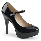 Svart Lackläder 13,5 cm CHLOE-02 stora storlekar pumps skor