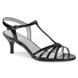 Svart Lackläder 6 cm KITTEN-06 stora storlekar sandaler dam