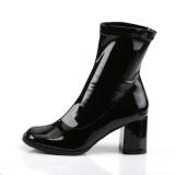 Svart Lackläder 7,5 cm GOGO-150 stretch ankleboots med blockklack till kvinnor