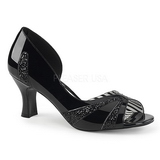 Svart Lackläder 7,5 cm JENNA-03 stora storlekar pumps skor