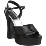 Svart Matt 13 cm DEMONIA DOLLY-09 Plat� sandaler med blockklack
