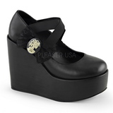 Svart Matt 13 cm POISON-02 Pumps Kilklackar Wedge Skor