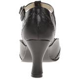 Svart Matt 7,5 cm retro vintage FLAPPER-26 kvinnor pumps med låg klack