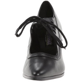 Svart Matt 7 cm retro vintage VICTORIAN-03 kvinnor pumps med låg klack