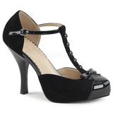Svart Mocka 11,5 cm PINUP-02 stora storlekar pumps skor