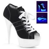 Svart Neon 15 cm DELIGHT-600SK-01 canvas sneakers med hög klack