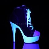 Svart Neon 15 cm DELIGHT-600SK-02 canvas sneakers med hög klack