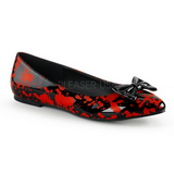 Svart Röd VAIL-20BL goth ballerinaskor med platta klack