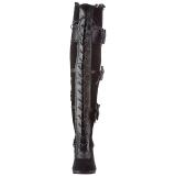 Svart Sammet 9,5 cm GLAM-300 Overknee Stövlar med Klackar