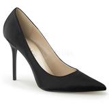 Svart Satin 10 cm CLASSIQUE-20 stora storlekar stilettos skor