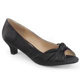 Svart Satin 5 cm FAB-422 stora storlekar pumps skor