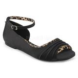 Svart Satin ANNA-03 stora storlekar ballerina skor