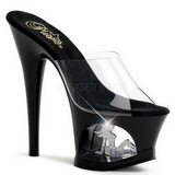 Svart Transparent 18 cm Pleaser MOON-701TG Platå Höga Slip in Mules
