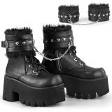 Svart Vegan 9 cm ASHES-57 lolita platå ankleboots med blockklack till kvinnor
