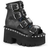 Svart Vegan 9 cm ASHES-70 lolita platå ankleboots med blockklack till kvinnor