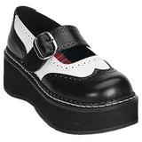 Svart Vit 5 cm EMILY-302 lolita skor goth dam platåskor med tjock sula