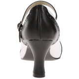 Svart Vit 7,5 cm retro vintage FLAPPER-25 kvinnor pumps med låg klack