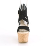 Svart band 16,5 cm BEAU-669 wedge sandaler med kilklack i kork