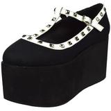 Svart duk 8 cm CLICK-07 goth platåskor lolita skor tjock sula