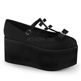 Svart duk 8 cm CLICK-08 goth platåskor lolita skor tjock sula