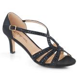 Svart glittrig 6,5 cm Fabulicious MISSY-03 högklackade sandaletter