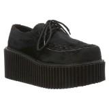 Svarta 7,5 cm CREEPER-202 rockabilly creepers skor - kvinder platåskor