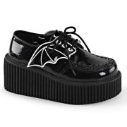 Svarta 7,5 cm CREEPER-205 platå creepers skor - kvinder platåskor med bat vingar