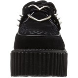 Svarta 7,5 cm CREEPER-206 rockabilly creepers skor - kvinder platåskor