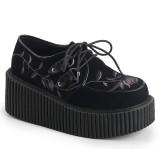 Svarta 7,5 cm CREEPER-219 rockabilly creepers skor - kvinder platåskor