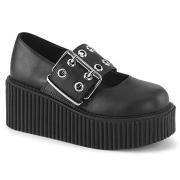 Svarta 7,5 cm CREEPER-230 maryjane creepers skor - kvinder platåskor med spänne