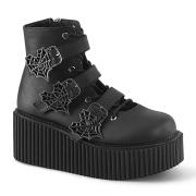 Svarta 7,5 cm CREEPER-260 creepers stövletter - kvinder platå boots med spänne