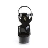 Svarta högklackade skor 15 cm DELIGHT-608N JELLY-LIKE stretchmaterial högklackade platåskor