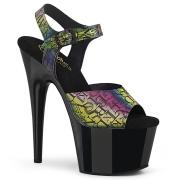 Svarta högklackade skor 18 cm ADORE-708N-LTP JELLY-LIKE stretchmaterial högklackade platåskor
