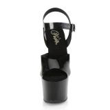 Svarta högklackade skor 18 cm SKY-308N JELLY-LIKE stretchmaterial högklackade platåskor