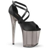 Svarta högklackade skor 20 cm FLAMINGO-840T extremt högklackade platåskor