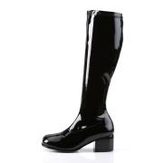 Svarta lackstövlar blockklack 5 cm - 70 tal hippie boots disco gogo knähöga stövlar