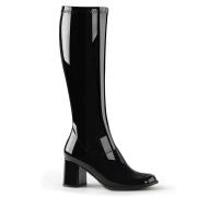 Svarta lackstövlar blockklack 7,5 cm - 70 tal hippie boots disco gogo knähöga stövlar