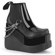 Svarta vegan boots 13 cm VOID-50 demonia wedge stövlar med kilklack