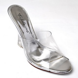 Transparent 10,5 cm LOVELY-401 Wedge Mules med Kilklackar