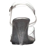 Transparent 10 cm CARESS-408MG Höga fest sandaler med klack