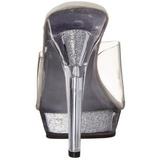 Transparent 13 cm Fabulicious LIP-101 Mules High Heels Glitter Platform