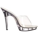 Transparent 13 cm Fabulicious LIP-101 Mules High Heels Platform