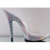 Transparent 13 cm LIP-101DM Slippers Strass Klackar